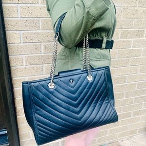 Kate Spade Black Leather Quilted Chain Bag Purse